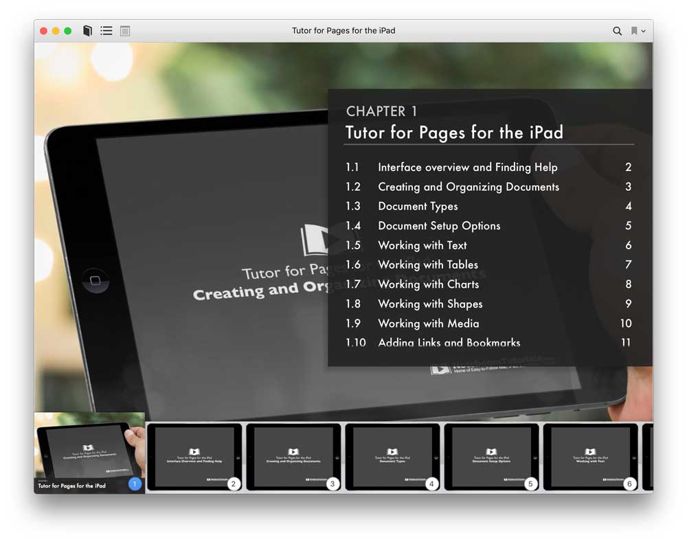 Tutor for Pages for iPad iBook