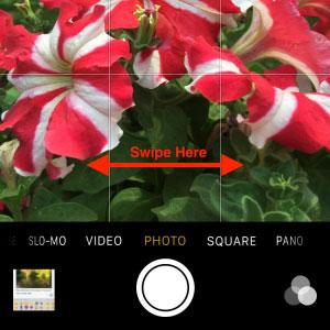 Swipe-on-viewfinder