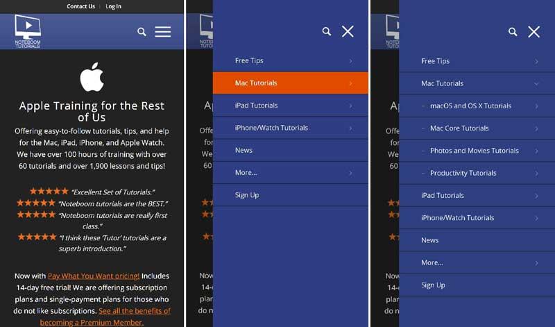 mobile menu update