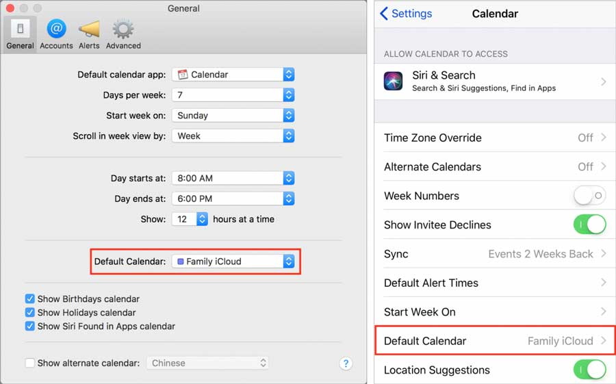 Set-default-calendars