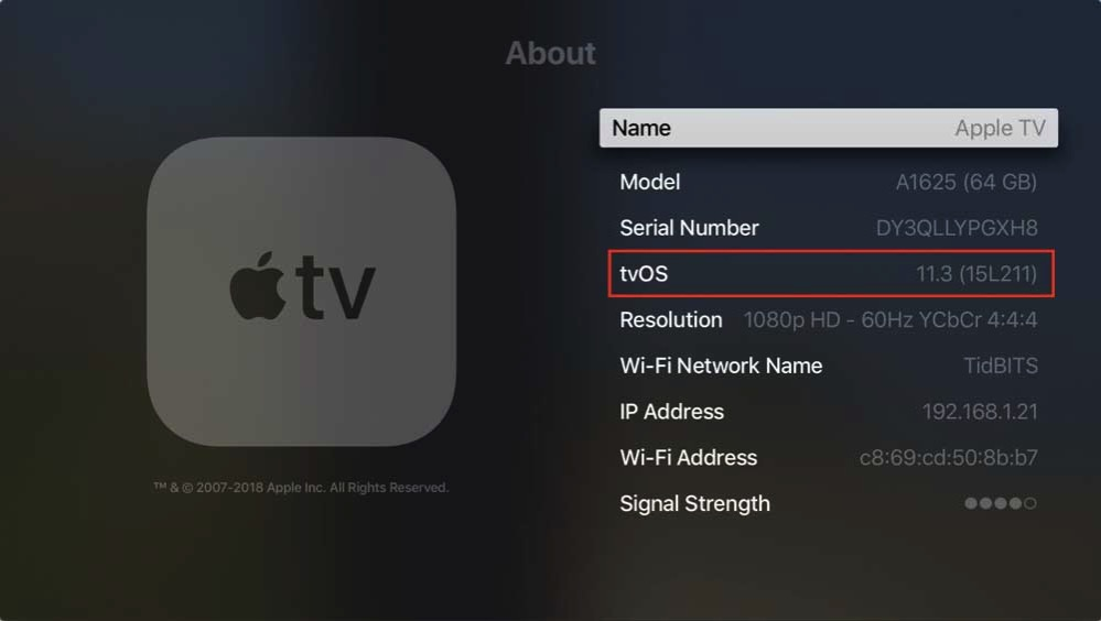 Which OS Apple TV