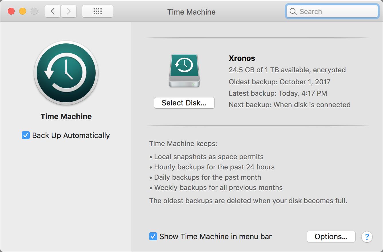 Time Machine prefs