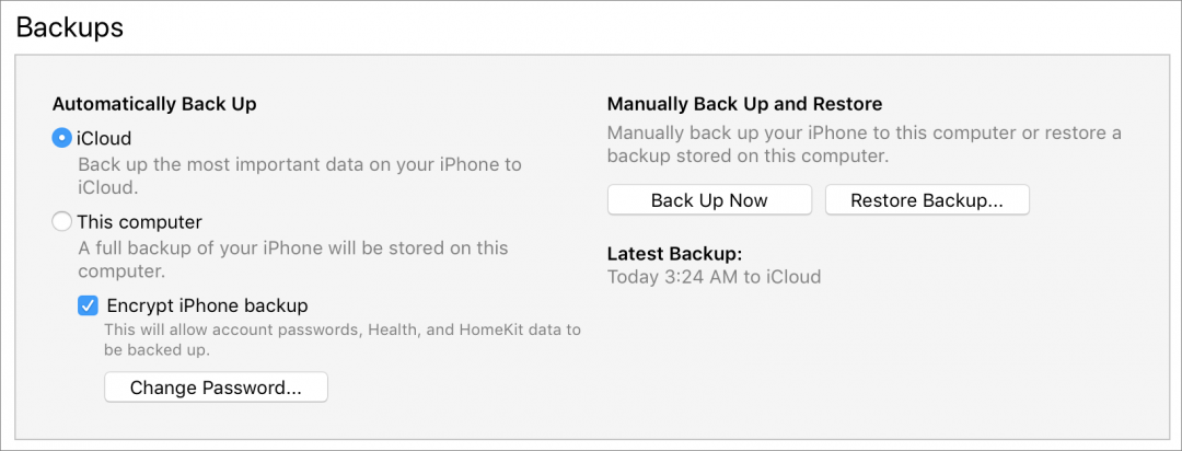 ITunes Backups section 1080x412