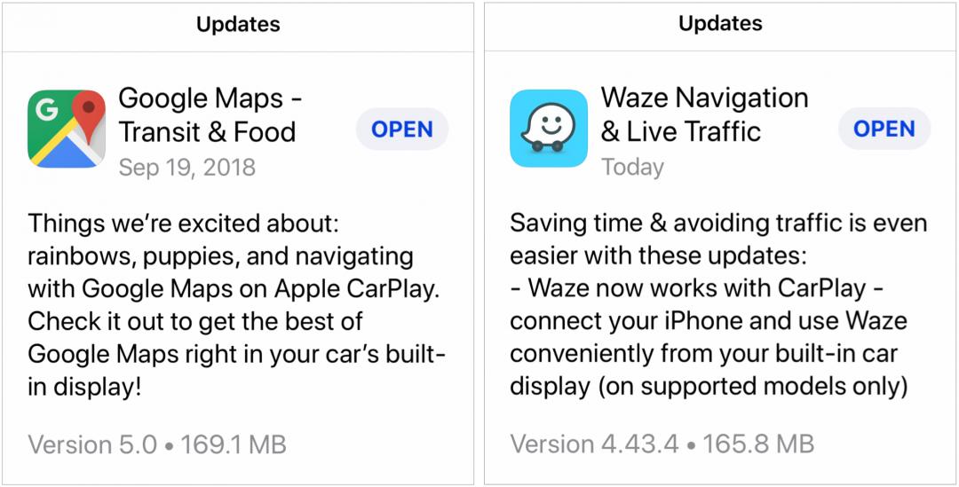 CarPlay iOS 12 GM Waze 1080x549