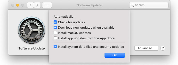 Mojave Software Update options